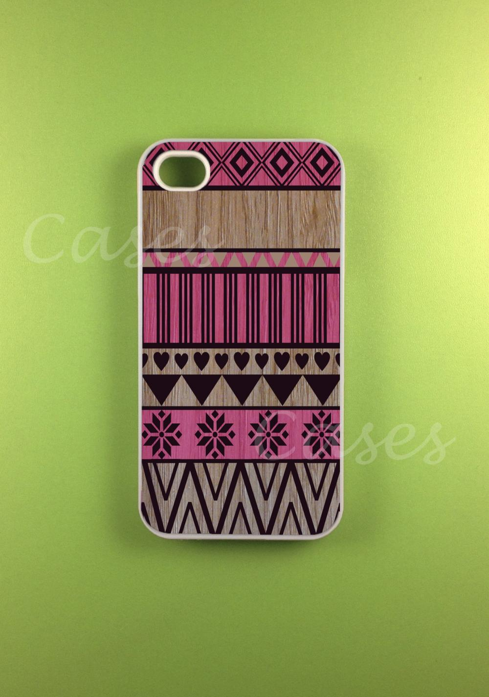 Aztec Iphone 4 Case - Pink Aztec on Wood Print Iphone Case, Iphone 4s Case